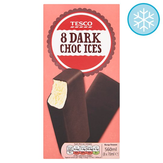 Tesco Dark Chocolate Ices 8 X 70Ml