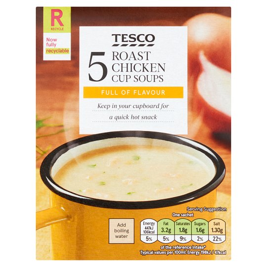 Tesco Roast Chicken Soup In A Mug 5 Pack (5X26) 130G