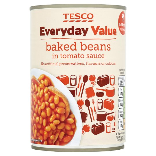 Tesco Everyday Value Baked Beans In Tomato Sauce 420G