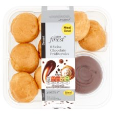Tesco Fin Fresh Cream Profiteroles With Swiss Chocolate 8Pk