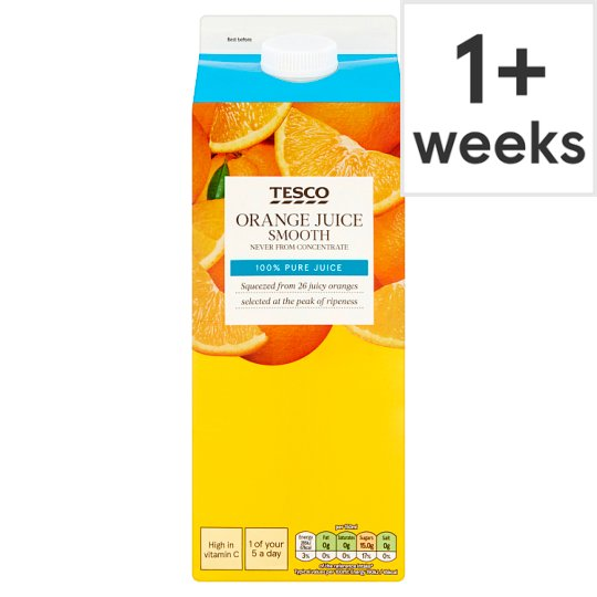 Tesco 100% Pure Squeezed Orange Juice Smooth 1.75 Litre