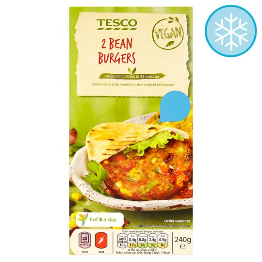Tesco Meat Free 2 Bean Sweetcorn And Roasted Pepper Burger 240G