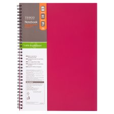 Tesco A4 Polypropylene Spiral Notebook 80 Sheets