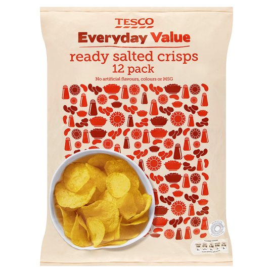 Tesco Everyday Value Ready Salted Crisps 12 Pack