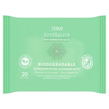 Tesco Kind & Pure Biodegradable Facial Wipes 20 Pack