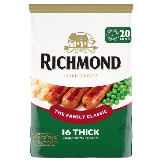 Richmond 16 Thick Irish Recipe Sausages 725G