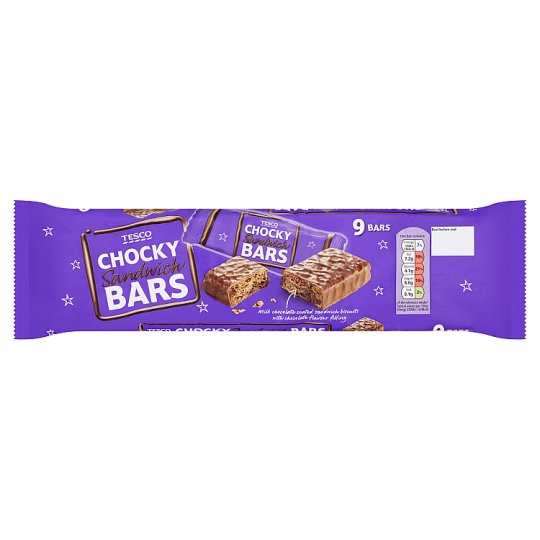 Tesco Chocky Sandwich Bars Biscuit 9 Pack