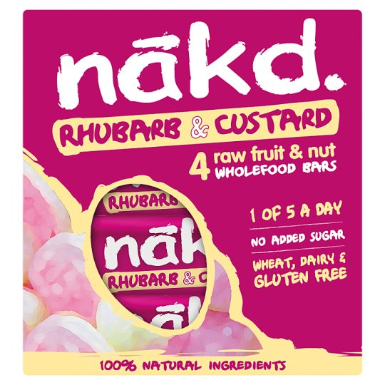 Nakd Rhubarb And Custard Bars 4Pack 140G