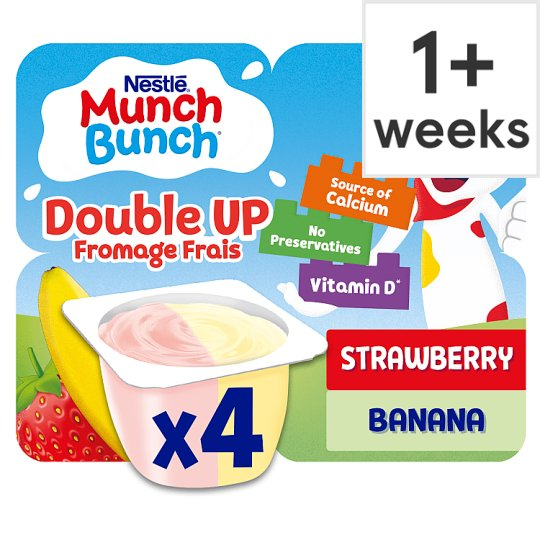 Munch Bunch Double Up Strawberry Banana Fromage Frais 4X85g