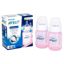 image 2 of Philips Avent Classic Bottle Pink 2X 260Ml