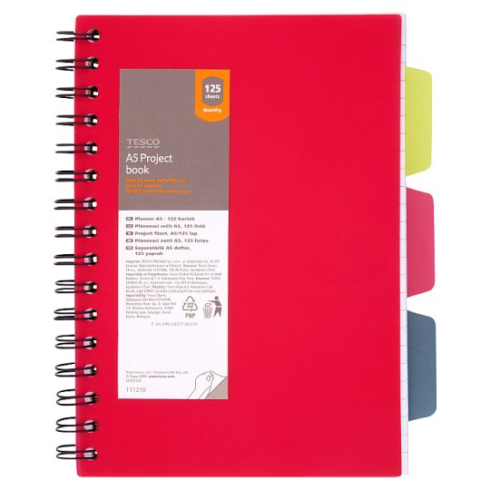 Tesco A5 Project Book 125 Sheets