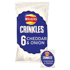 Walkers Crinkles Cheddar And Onion Crisps 6 X 23 G