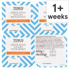 Tesco Honey Greek Style Yogurt 4 X100g