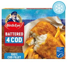 Birds Eye 4 Large Battered Cod Fillets 440G