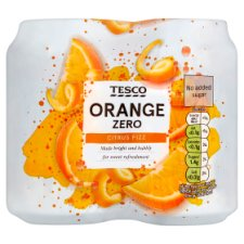 Tesco No Added Sugar Orange Crush 4 X 330Ml
