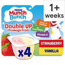 Munch Bunch Double Up Strawberry Vanilla Yogurt 4 X85g