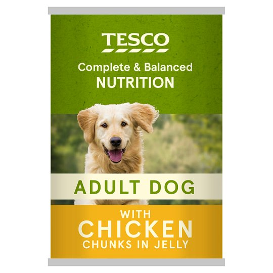 Tesco Cuts In Jelly Chicken Tinned Dog Food 400G