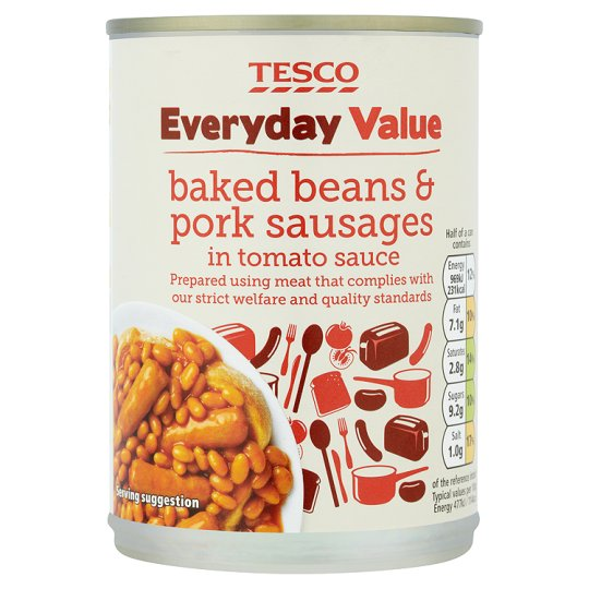 Tesco Everyday Value Beans And Sausages 405G