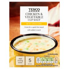 Tesco Chicken, Vegetable And Croutons Soup In A Mug 5 Pack 110G