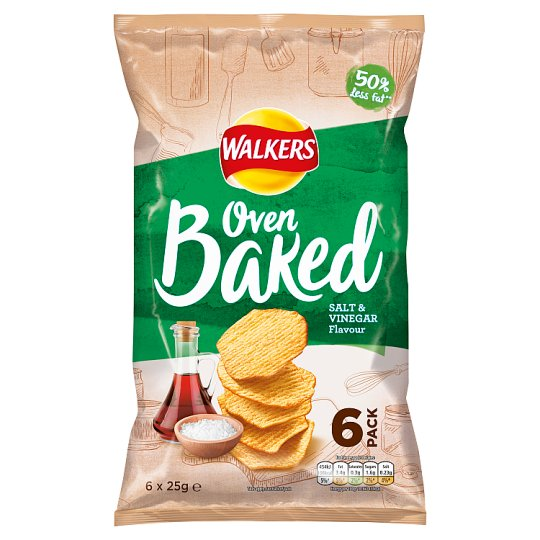 Walkers Baked Salt And Vinegar Crisps 6 X 25 G