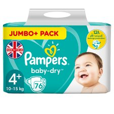 image 1 of Pampers Baby Dry Size 4+ Jumbo+ Pack 76 Nappies