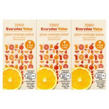 Tesco Everyday Value Orange Juice 3X200ml