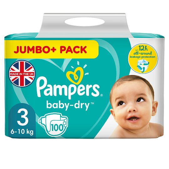 image 1 of Pampers Baby Dry Size 3 Jumbo+ Pack 100 Nappies
