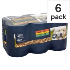 Tesco Jelly Selection Puppy Food Cans 6 X400g