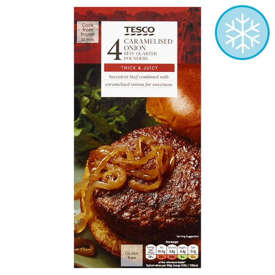 Tesco 4 Caramelised Onion Quarter Pounders 454G