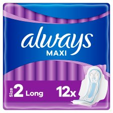 Always Maxi Long Sanitary Towels Size 2 With Wings 12 Pack