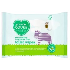 Tesco Loves Toddler Sensitive Toilet Fragrance Free Toilet Wipes 60Pk