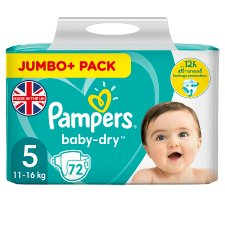 Pampers Baby Dry Size 5 Jumbo+ Pack 72 Nappies