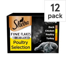 Sheba Fine Flake Cat Food Pouches Poultry in Jelly 12x85g
