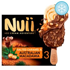 Nuii Salted Caramel Macadamia Ice Cream Sticks 3X90ml