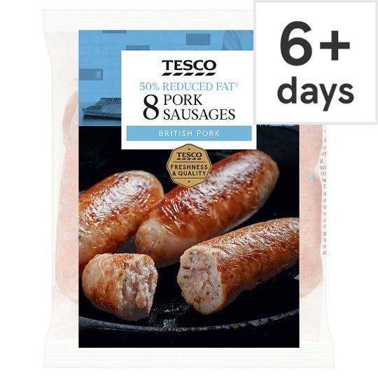Tesco 8 Reduced Fat Pork Sausages 454G