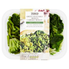 Tesco Vegetable Portion Green Vegetable And Cabbage Selection 230G