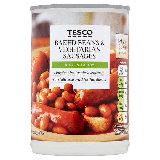 Tesco Baked Beans And Vegetarian Sausages In Tomato Sauce 395G