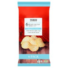 Tesco Reduced Fat Ready Salted Crinkle Crisps 6X25g