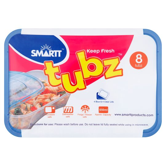 Smartt Plastic Food Containers Tubz (650Ml) 8Pk