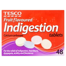 Tesco Indigestion Tabs Fruit 48S