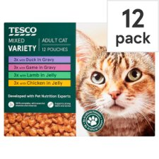 Tesco Meat Selection Cat Food Pouches 12 X100g