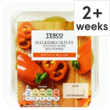 Tesco Red Pepper Halkidiki Olives 160G
