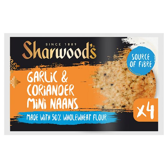 Sharwoods Garlic And Coriander Mini Naans 4 Pack 260G