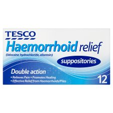 Tesco Haemorrhoid Suppositories Relief 12'S