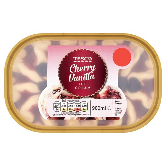 Tesco Cherry Vanilla Ice Cream 900Ml