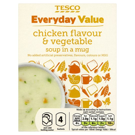 Tesco Everyday Value Chicken And Vegetable Soup In A Mug 4 Pack 88G