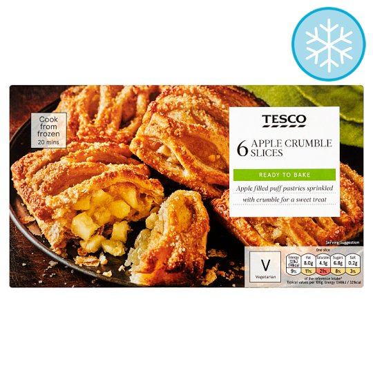 Tesco 6 Apple Crumble Slices 360G