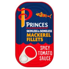 Princes Skinless Boneless Mackerel Fillets Spicy Tomato Sauce 125G