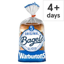 Warburtons 5 Pack Bagels Plain 400G