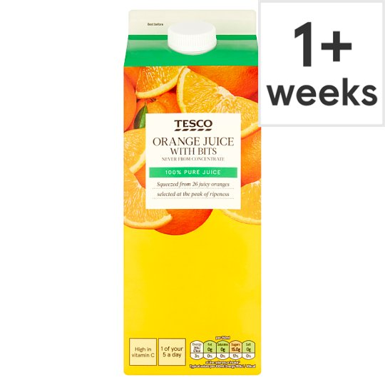 Tesco 100% Pure Squeezed Orange Juice With Bits 1.75 L